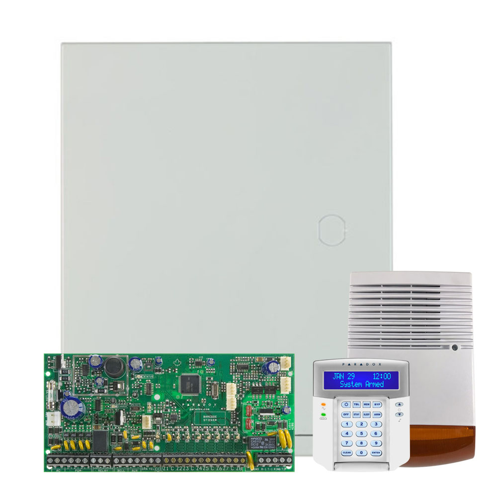Kit alarma antiefractie Paradox Spectra SP6000+K32LCD+SL-900B, 2 partitii, 8-32 zone, 32 utilizatori, cutie cu traf imagine spy-shop.ro 2021