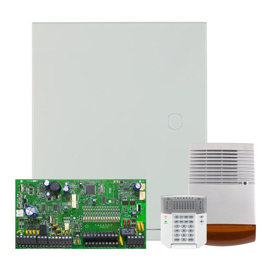 Kit alarma antiefractie Paradox Spectra SP7000+K32+SL-900B, 2 partitii, 16-32 zone, 32 utilizatori, cutie cu traf imagine spy-shop.ro 2021