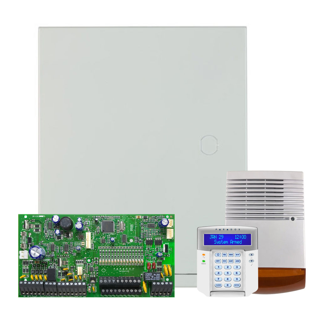 Kit alarma antiefractie Paradox Spectra SP7000+K32LCD+SL-900B, 2 partitii, 16-32 zone, 32 utilizatori, cutie cu traf imagine spy-shop.ro 2021
