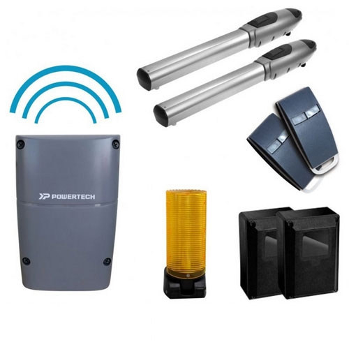 Kit automatizare poarta batanta Powertech PW-220FS, 200 Kg/canat, 2.5 m/canat, 24 V