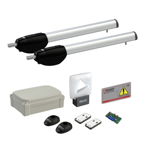 Kit automatizare poarta batanta Roger Technology Kit BE20/410, 4 m/canat, 230 V, trafic intens