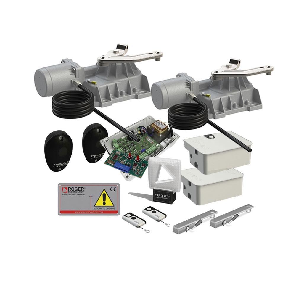 Kit automatizare poarta batanta Roger Technology KIT BR21/353, 4.5 m, 800 Kg, 230V AC imagine spy-shop.ro 2021