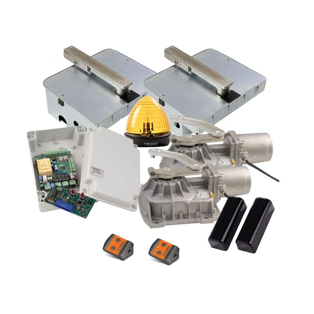 Kit automatizare poarta batanta Roger Technology Kit R21/351, 3.5 m/canat, 230 Vac, 800 Kg/canat