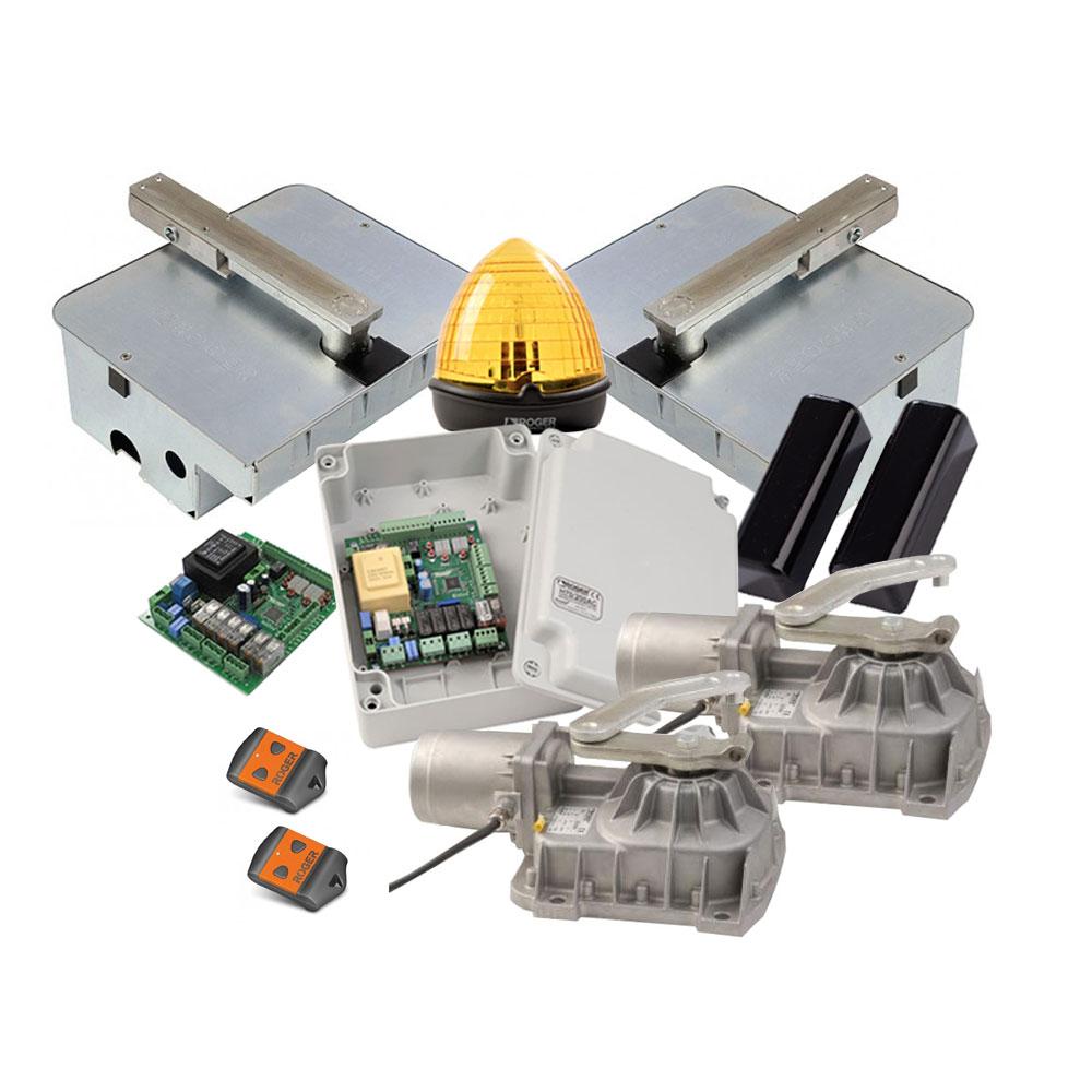 Kit automatizare poarta batanta Roger Technology R21/373, 3.5 m/canat, 400 Kg/canat, 230 Vac imagine spy-shop.ro 2021