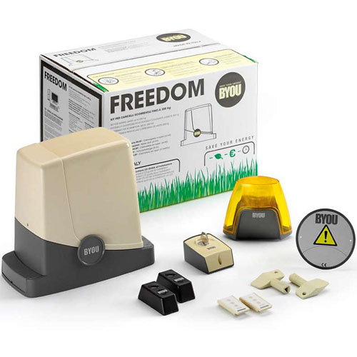 Kit automatizare poarta culisanta Byou Freedom, 300 Kg, 24 V, 80 W imagine spy-shop.ro 2021