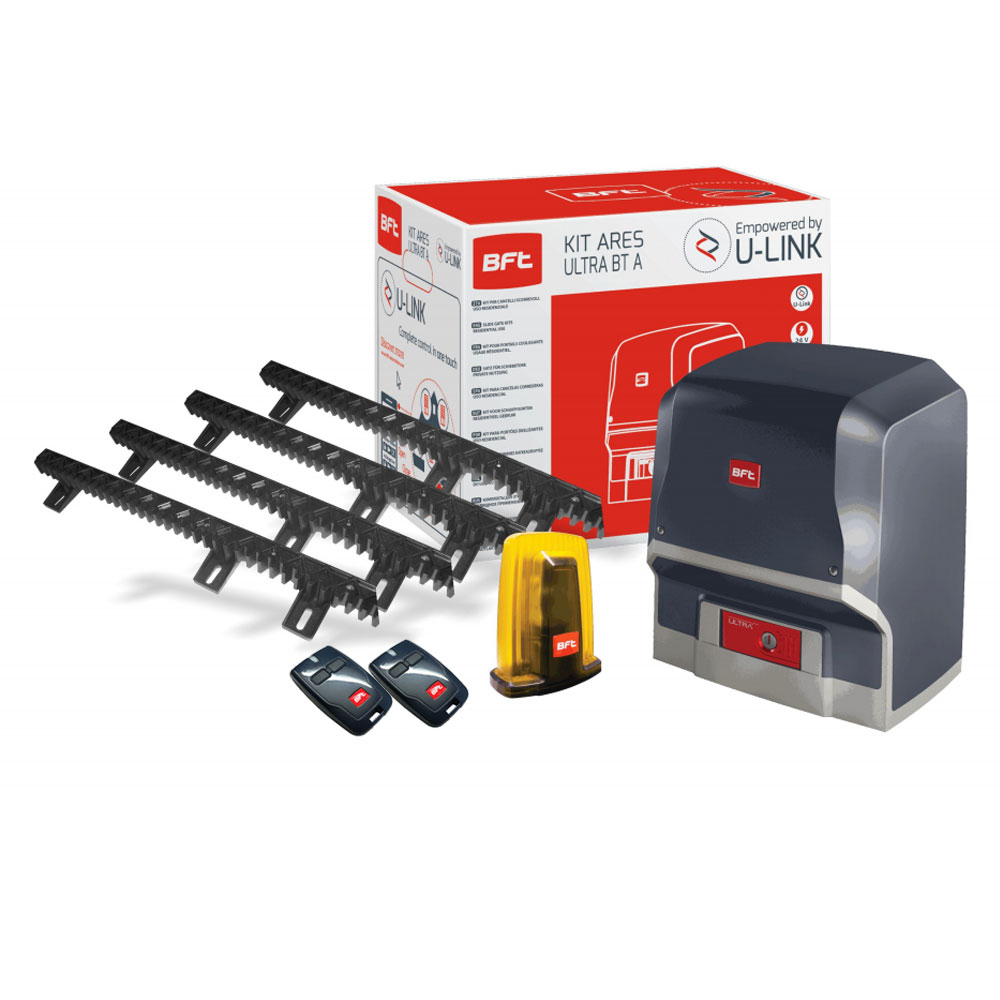 Kit automatizare porti culisante BFT ARES 1000, 1000 Kg, 24 V, limitator magnetic, detectie obstacole imagine spy-shop.ro 2021