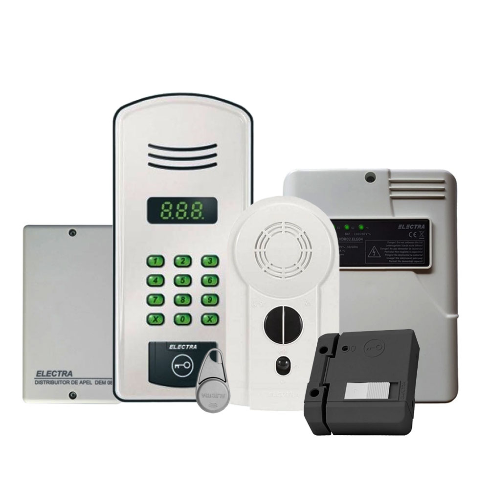 Kit interfon de bloc Electra KIT.10A.Y22, 10 familii, RFID, 20 tag-uri imagine spy-shop.ro 2021