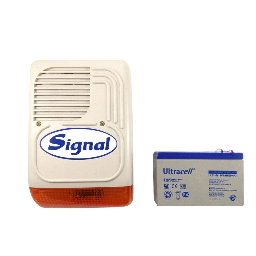 Kit sirena de exterior cu acumulator PS 128 + AC 7AH, 128 dB, 7 tonuri, 12V 7Ah imagine spy-shop.ro 2021
