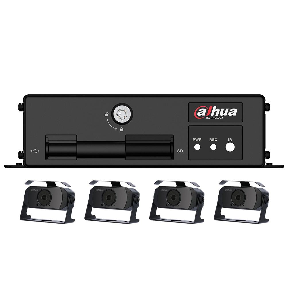 Kit supraveghere auto Dahua MXVR1004-HAC-HMW3100, 4 camere, 1 MP, IR 20 m, microfon imagine spy-shop.ro 2021
