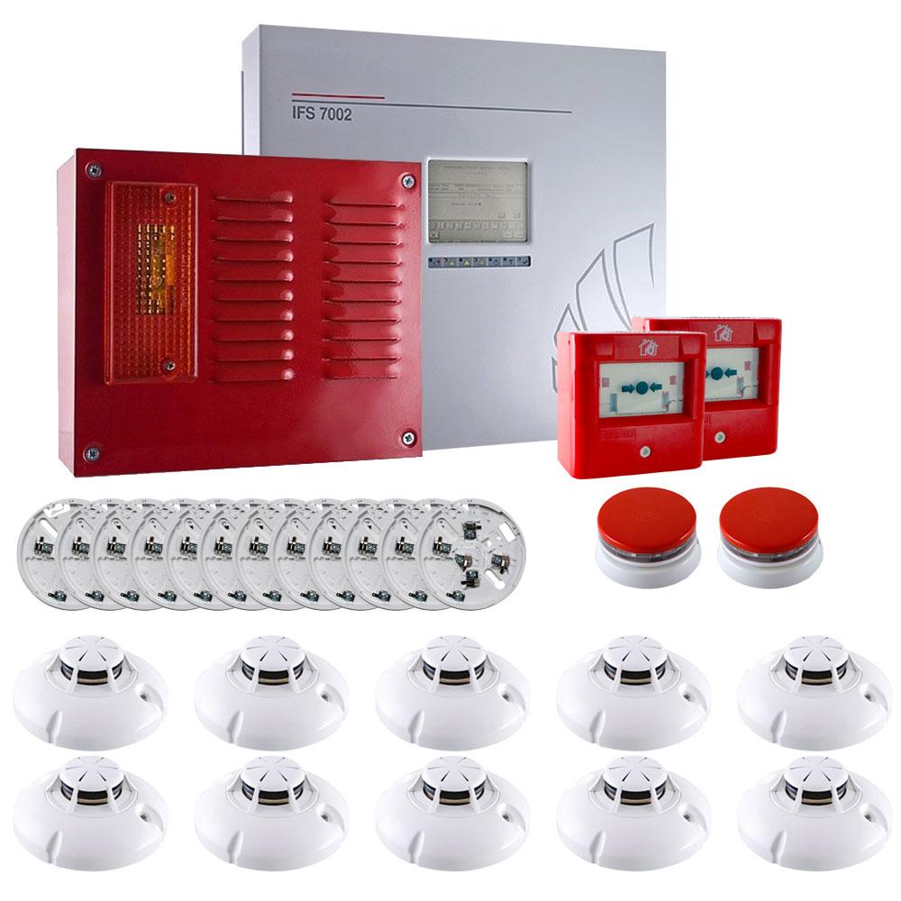 Sistem alarma antiincendiu adresabil UniPOS KIT-UP10A, 2 bucle, 250 zone, 60 detectori/zona, 10 detectori