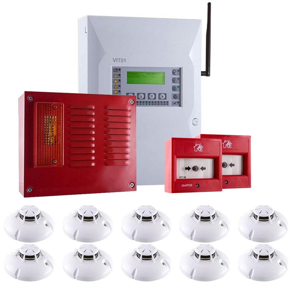 Sistem alarma antiincendiu wireless UniPOS KIT-UP10W, 15 zone, 20-32 dispozitive, 10 detectori