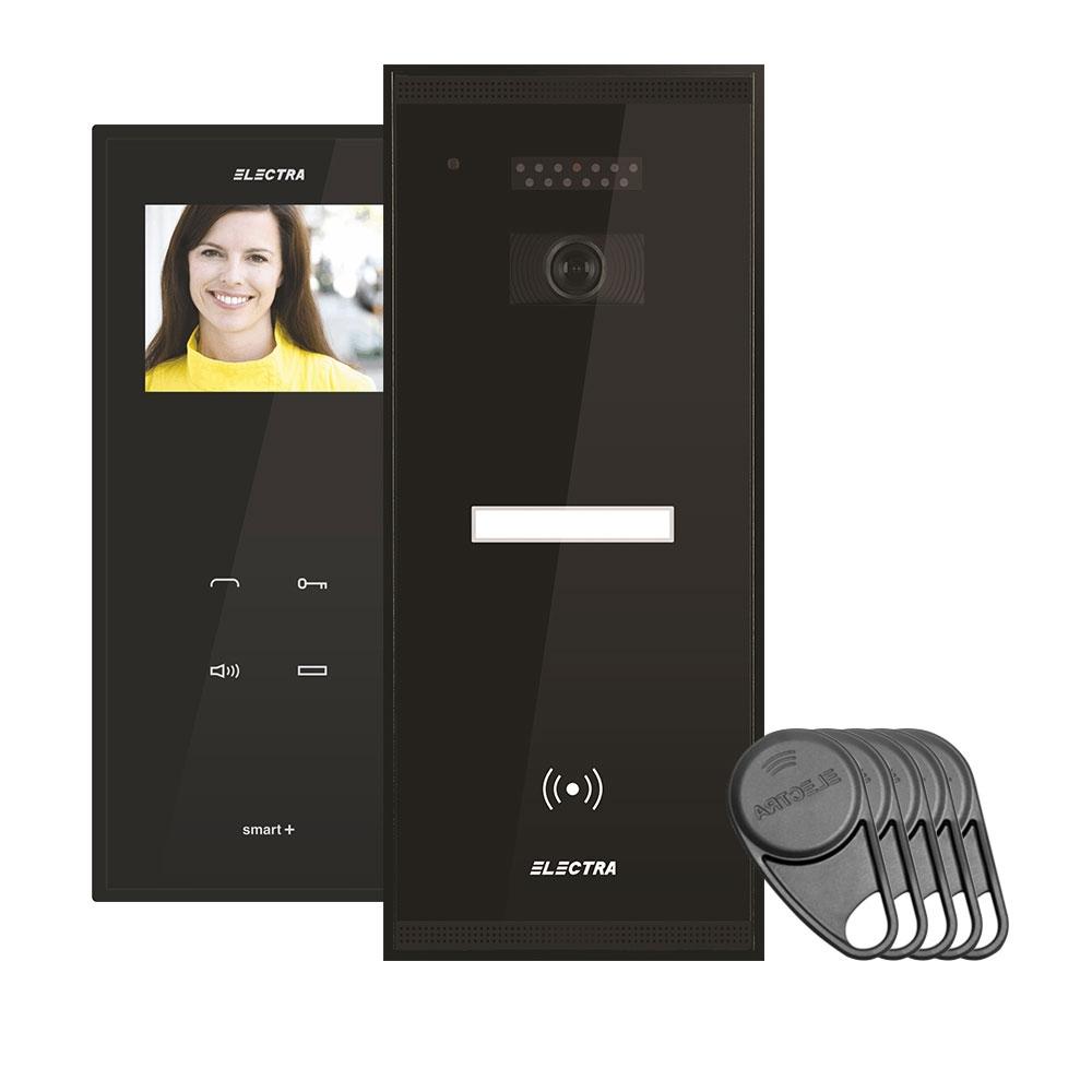 Kit videointerfon Electra Touch Line Smart+ VKM.P1SR.T3S4.ELB04, 1 familie, aparent, 3.5 inch imagine spy-shop.ro 2021