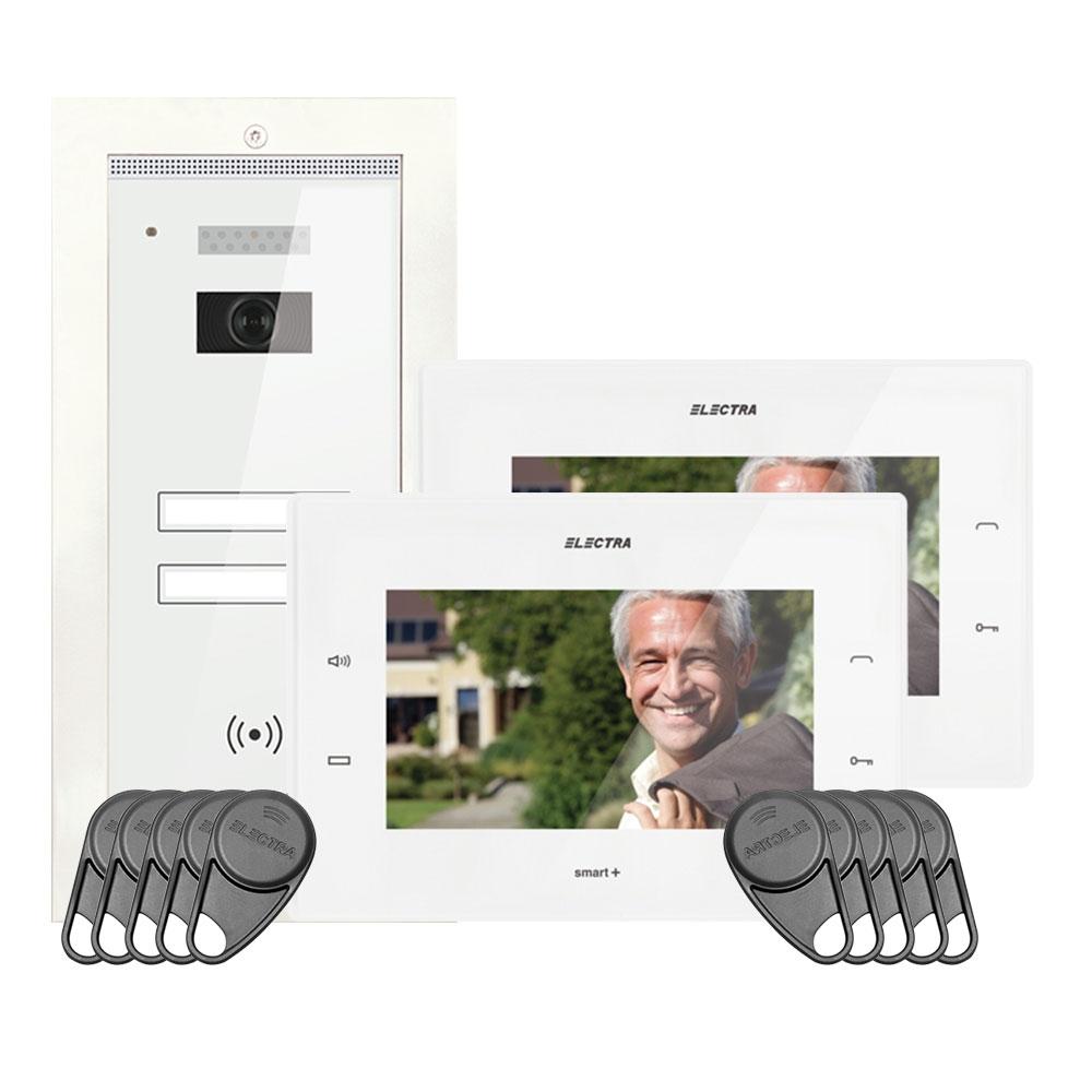 Kit videointerfon Electra Touch Line Smart+ VKM.P2FR.T7S4.ELW04, 2 familii, ingropat, ecran 7 inch