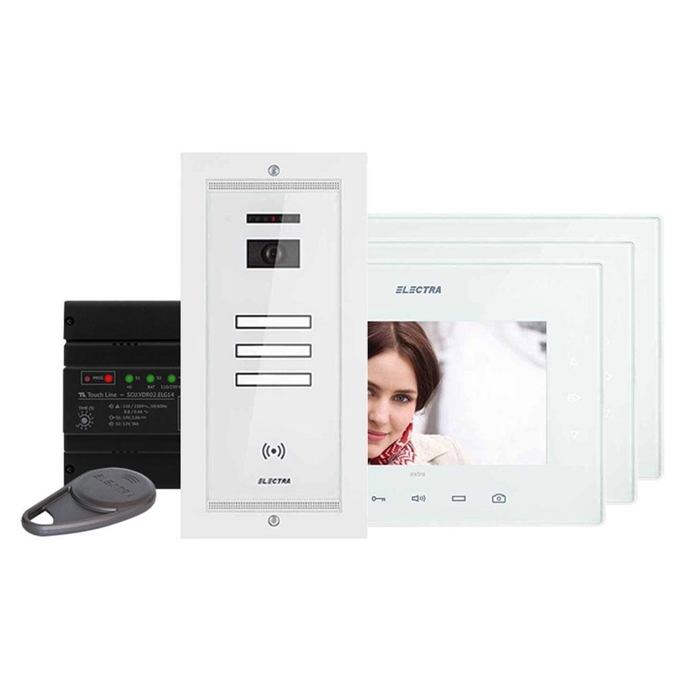 Kit videointefon Electra Touch Line Extra VKE.P3FR.T7S9.ELW04, 3 familii, ingropat, 7 inch imagine spy-shop.ro 2021