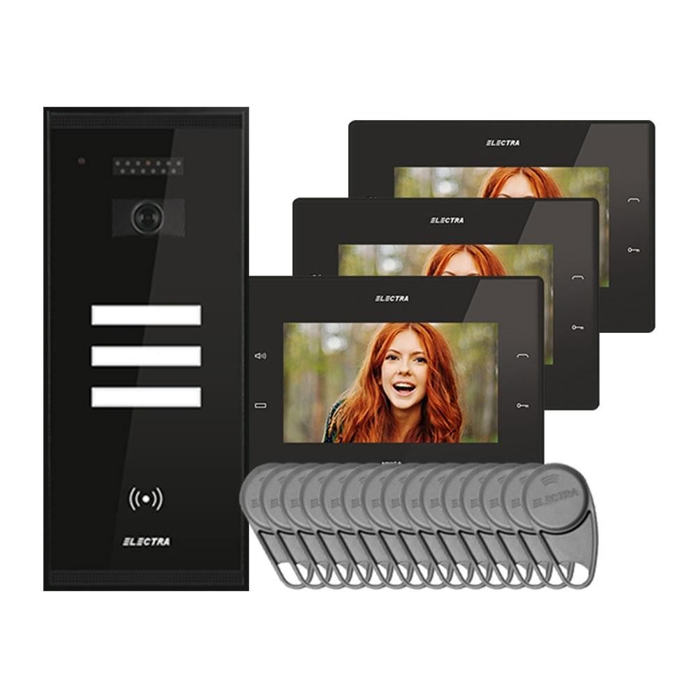 Kit videointerfon Electra Touch Line Smart+ VKM.P3SR.T7S4.ELB04, 3 familii, aparent, ecran 7 inch
