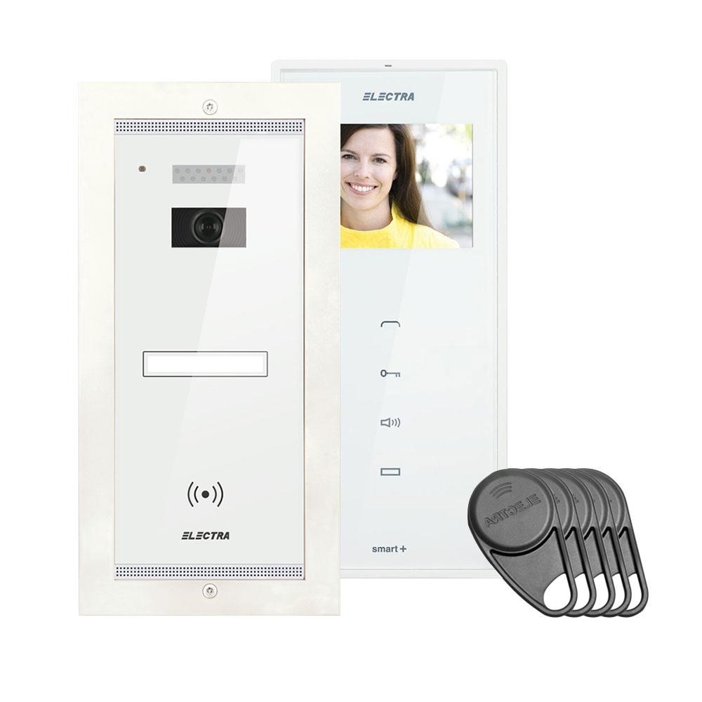 Kit videointerfon Electra Touch Line Smart+ VKM.P1FR.T3S4.ELW04, 1 familie, ingropat, 3.5 inch imagine spy-shop.ro 2021