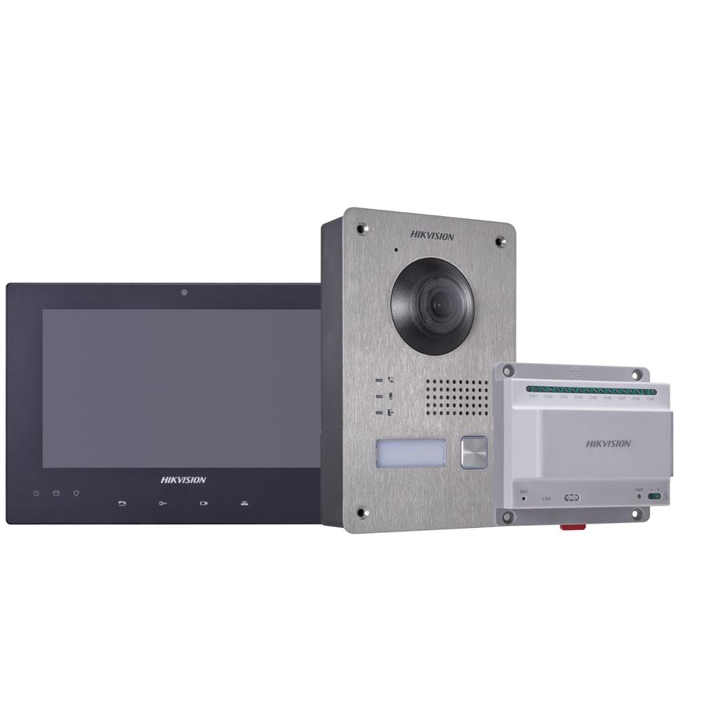 Kit videointerfon Hikvision DS-KIS701, touchscreen, 2 fire, 7 inch imagine spy-shop.ro 2021