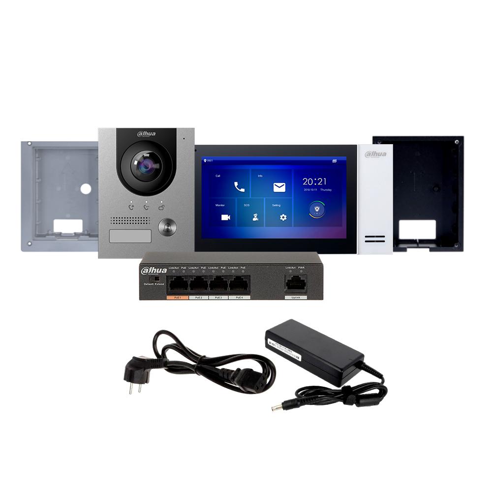 Kit videointerfon IP Dahua KTP01(F), 2 MP, 1 familie, aparent/ingropat, 7 inch, control de la distanta, PoE