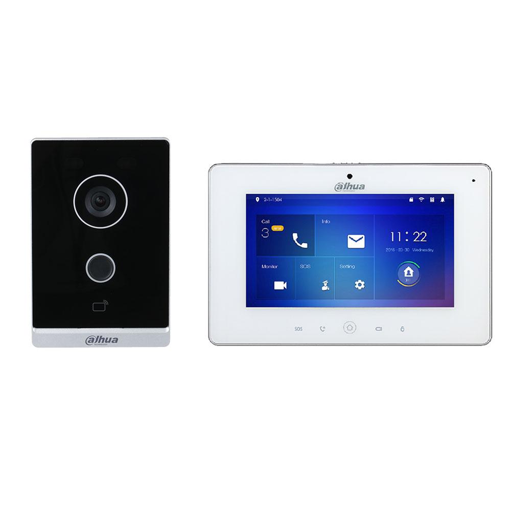 Kit videointerfon WiFi Dahua KTW01, 2 MP, 1 familie, aparent, 7 inch, IC card, IR, night vision, control de la distanta, PoE