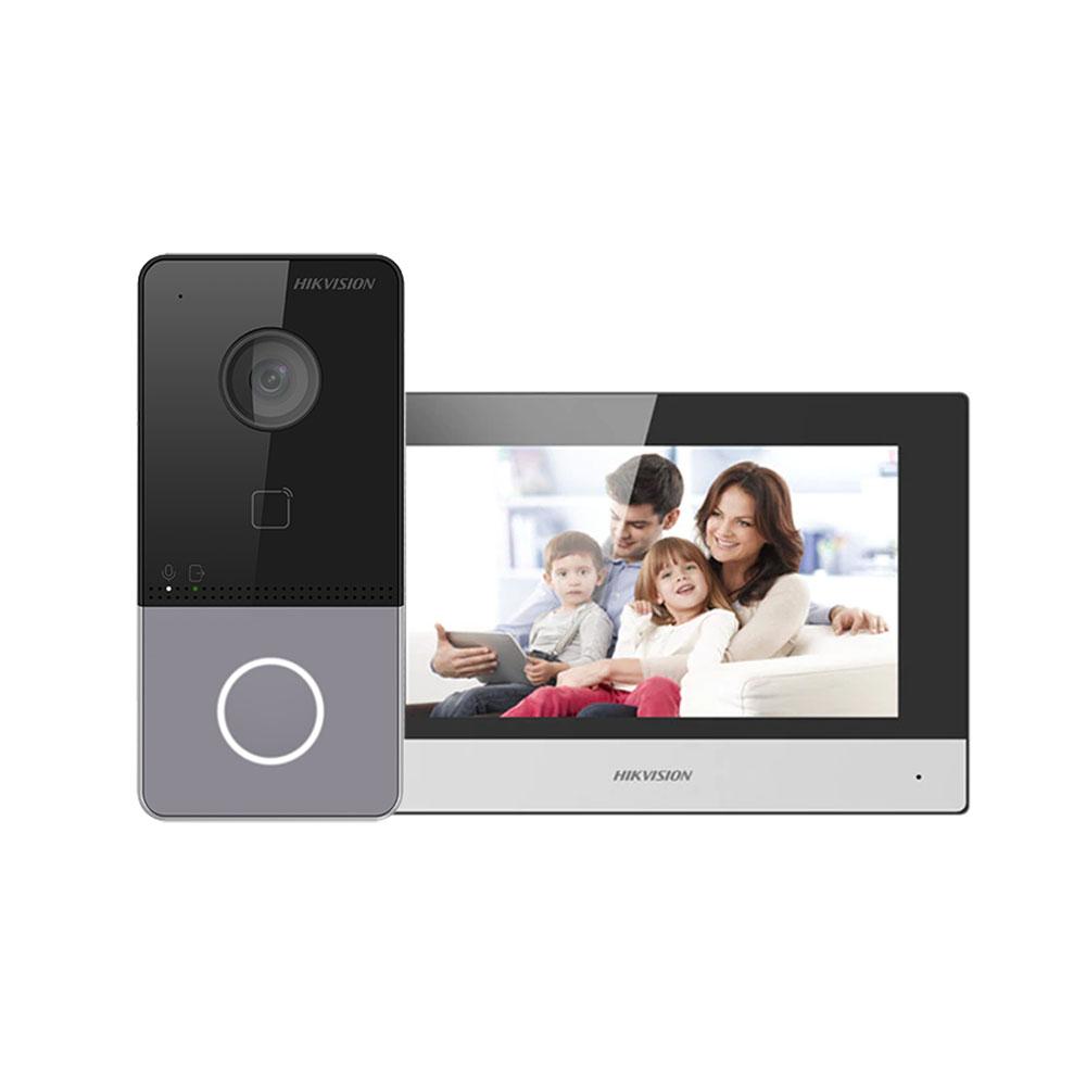 Kit videointerfon IP WiFi Hikvision DS-KIS603-P, 2 MP, 7 inch, Mifare, 2.4 GHz, 1 familie, aparent
