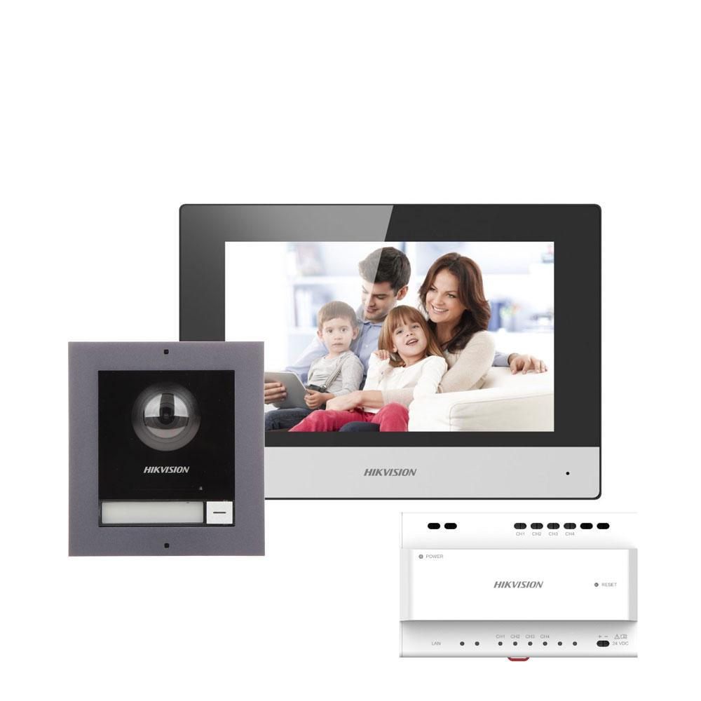 Kit videointerfon IP pe 2 fire Hikvision DS-KIS702, 1 familie, 2 MP, 7 inch, aparent