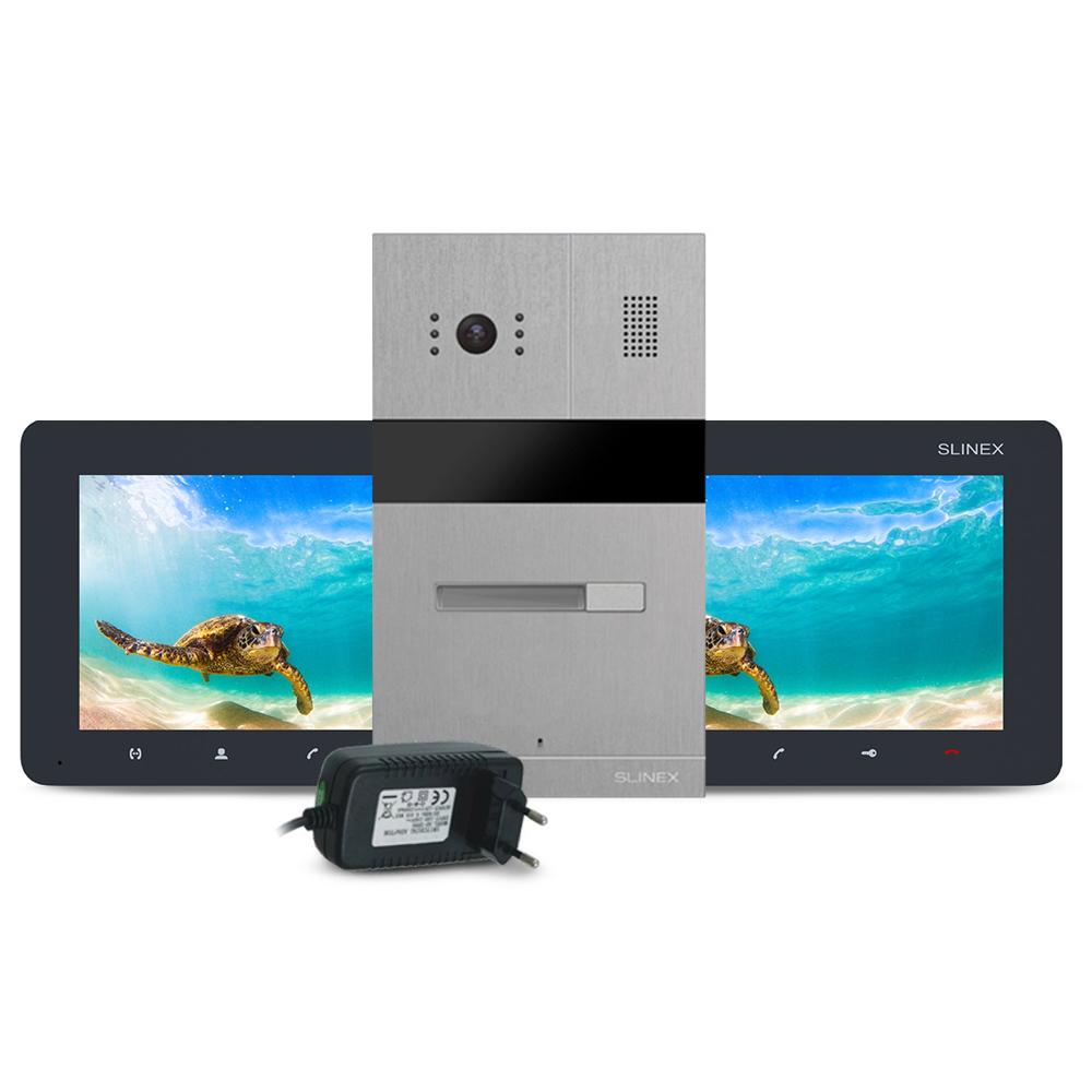 Kit videointerfon RFID Slinex MA-01-IR-CUT-2XSM-07M-B-PA12/2A, 1 familie, ingropat/aparent, 7 inch, IR 1.5 m, Full HD