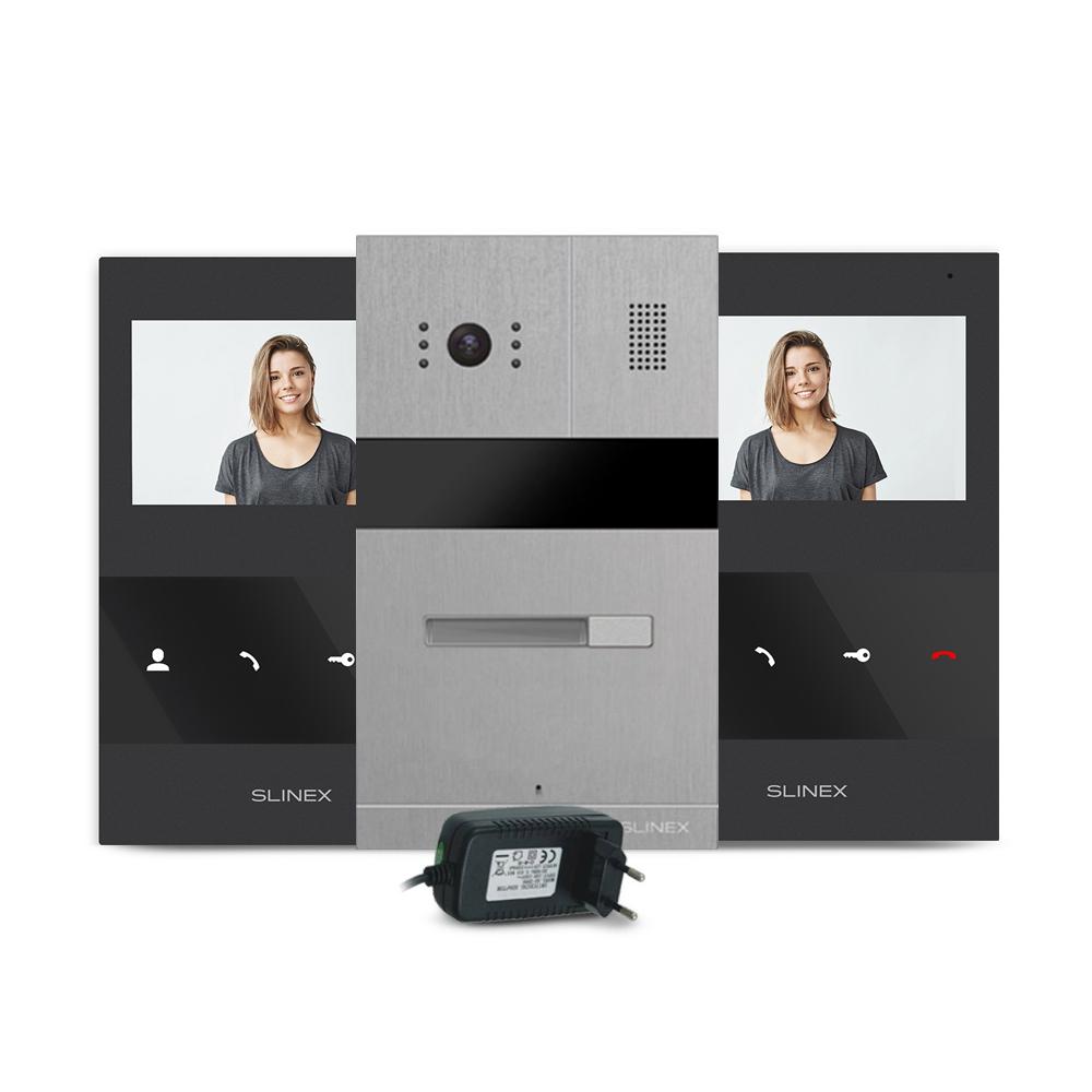 Kit videointerfon RFID Slinex MA-01-IR-CUT-2XSQ-04M-B-PA12/2A, 1 familie, ingropat/aparent, 4.3 inch, IR 1.5 m, Full HD