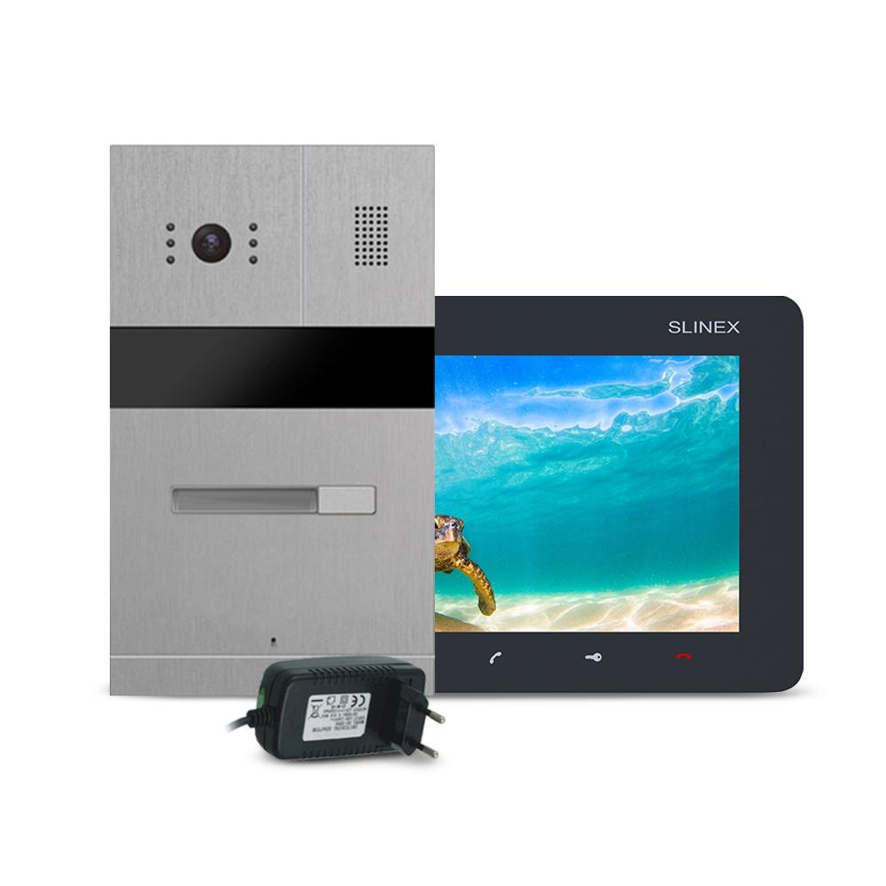 Kit videointerfon RFID Slinex MA-01-IR-CUT-SM-07M-B-PA12/2A, 1 familie, ingropat/aparent, 7 inch, IR 1.5 m, Full HD imagine spy-shop.ro 2021