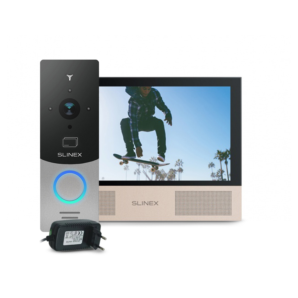 Kit videointerfon RFID Slinex ML-20CRHD-SB-SONIK-7-B-PA12/2A, 1 familie, aparent, 7 inch, touchscreen, IR 1.5 m, Full HD