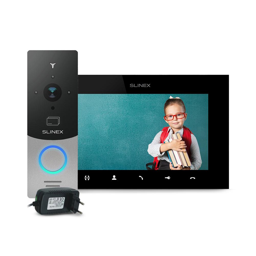 Kit videointerfon RFID Slinex ML-20CRHD-SB-SQ-07MTHD-B-PA12/2A, 1 familie, aparent, 7 inch, touchscreen, IR 1.5 m, Full HD imagine spy-shop.ro 2021