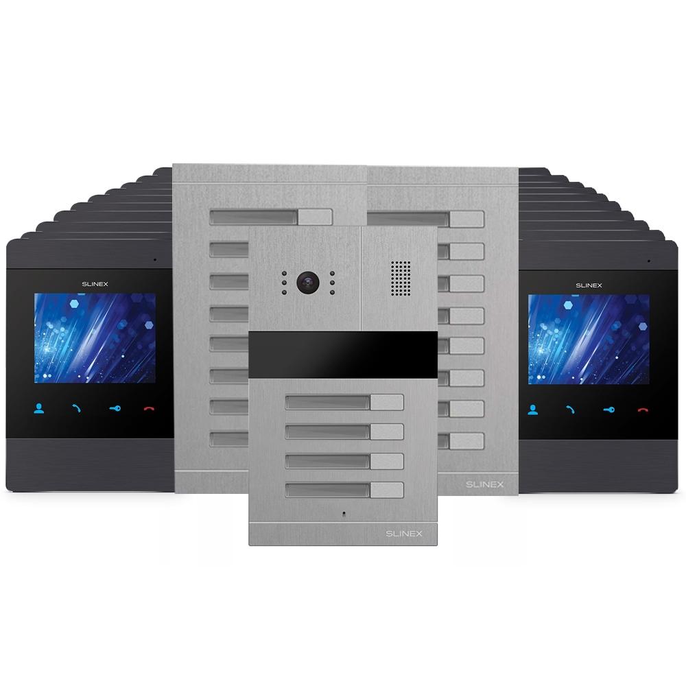 Kit videointerfon Slinex 1xMA-04+2xMA-08+20xMS-04-B, 20 familii, ingropat, ecran 4 inch