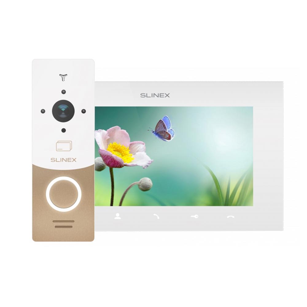 Kit videointerfon Slinex 1xML-20CR-GW+1xSQ-07MT-W, 1 familie, aparent, ecran 7 inch
