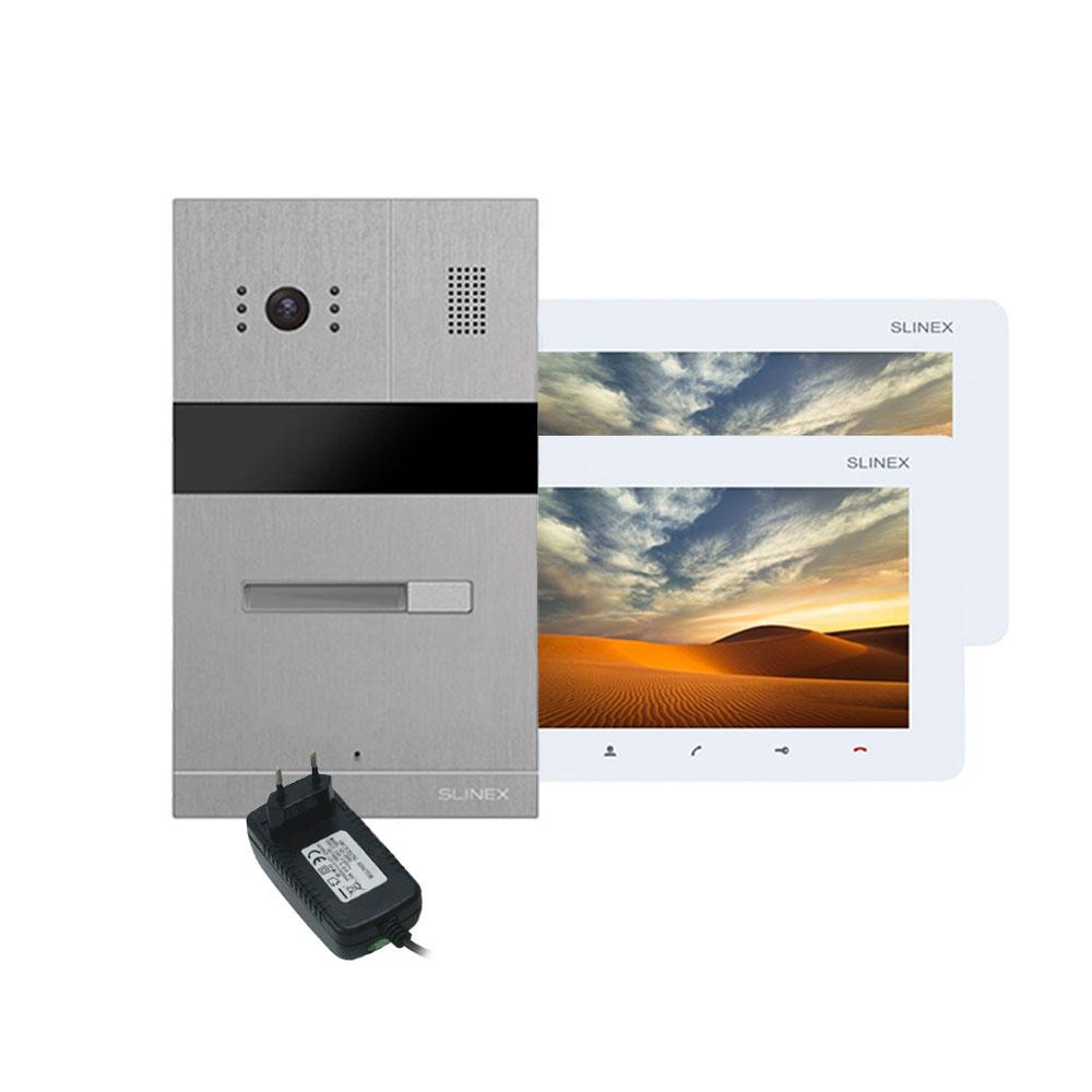 Kit videointerfon Slinex MA-01 IR-CUT+SM-07M-W+PA12/2A, 1 familie, ingropat, 7 inch