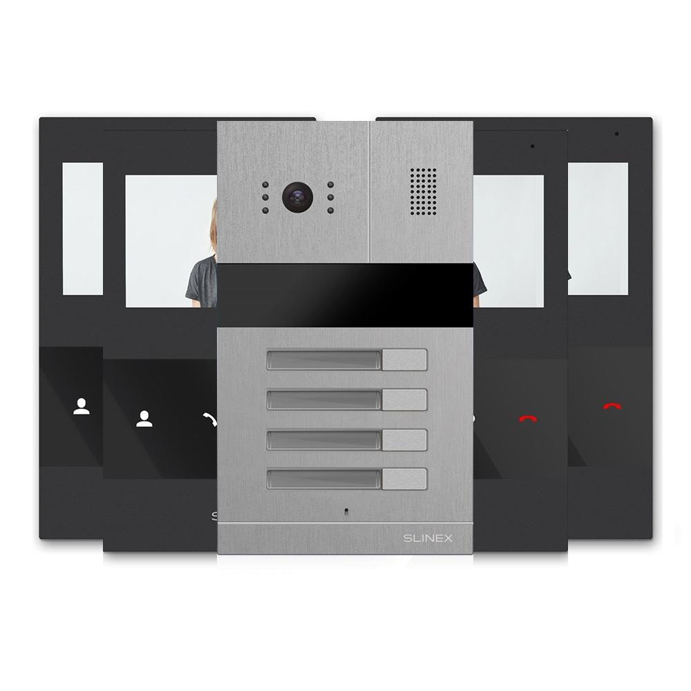 Kit videointerfon Slinex MA-04+4xSQ-04M-B, 4 familii, ingropat, ecran 4.3 inch