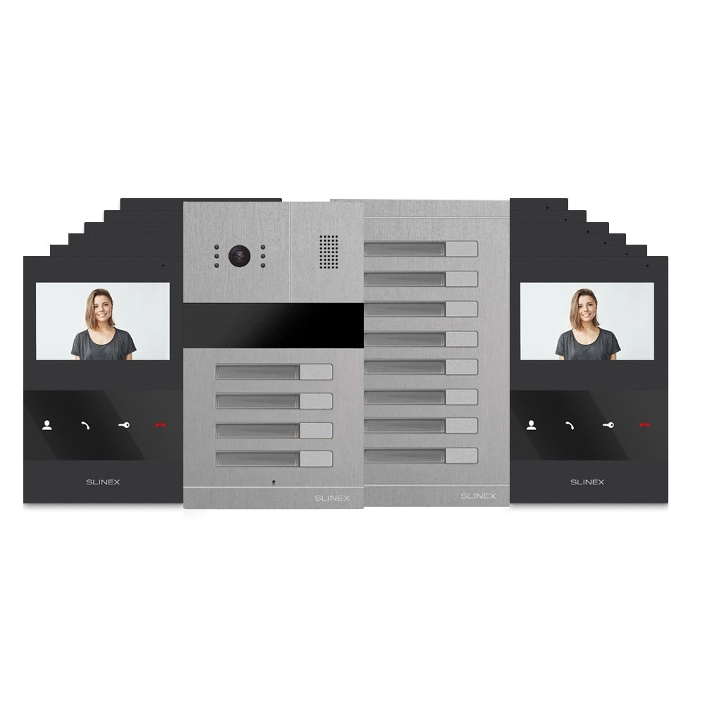 Kit videointerfon Slinex MA-04+MA-8+12xSQ-04M-B, 12 familii, ingropat, 4 inch imagine spy-shop.ro 2021