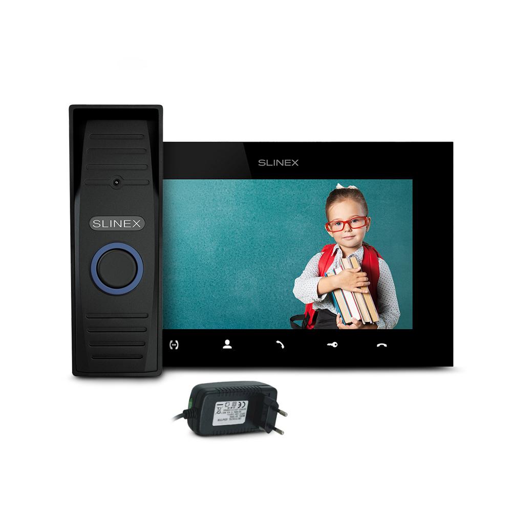 Kit videointerfon Slinex ML-15HD-B-SQ-07MTHD-B-PA12/2A, 1 familie, aparent, 7 inch, IR 1.5 m, 2 MP imagine spy-shop.ro 2021