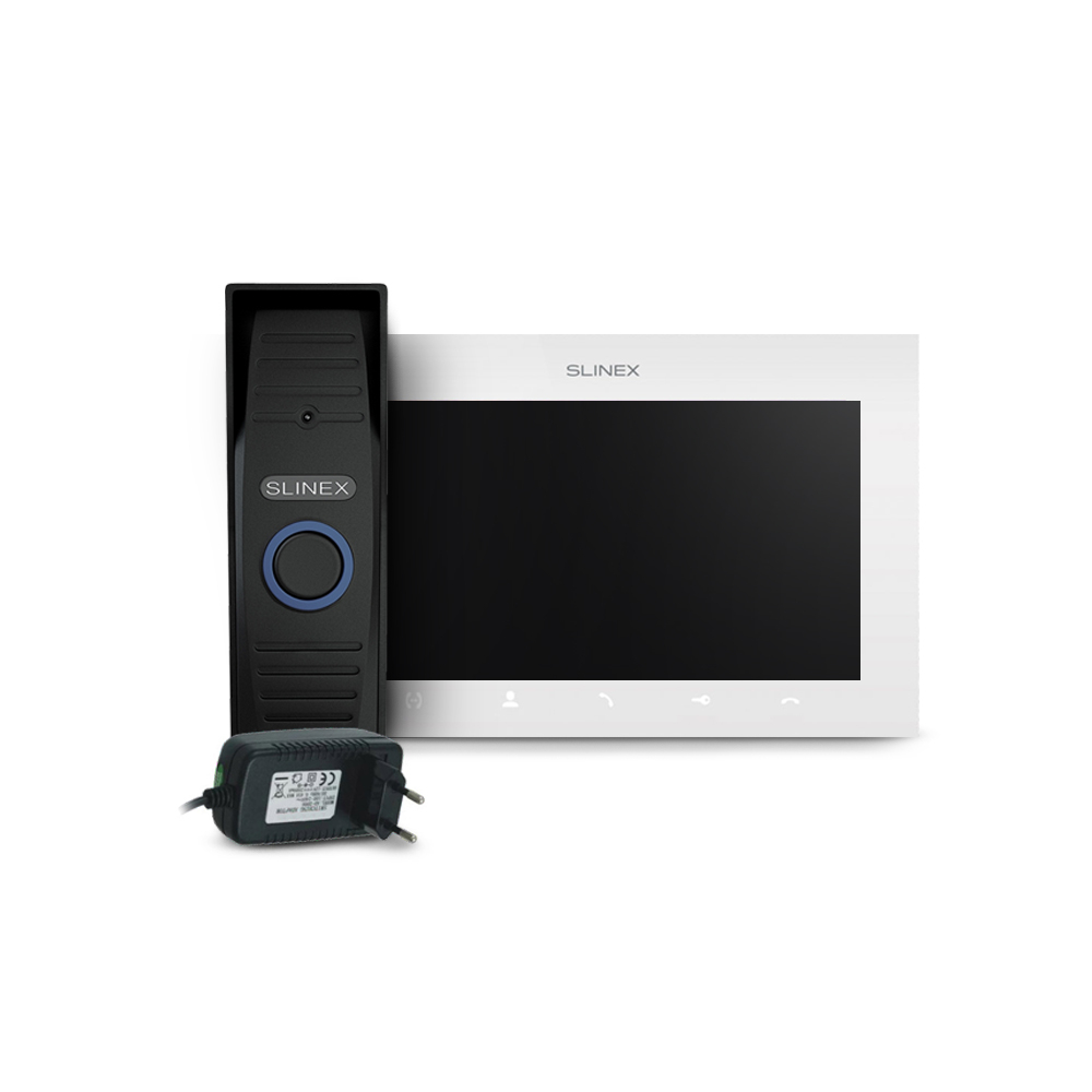 Kit videointerfon Slinex ML-15HD-B-SQ-07MTHD-W-PA12/2A, 1 familie, aparent, 7 inch, IR 1.5 m, 2 MP imagine spy-shop.ro 2021