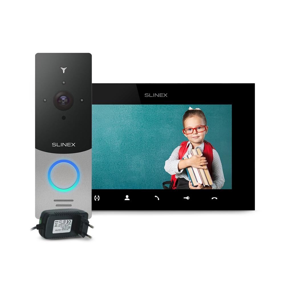 Kit videointerfon Slinex ML-20HD-SB-SQ-07MTHD-B-PA12/2A, 1 familie, aparent, 7 inch, touchscreen, IR 1.5 m, Full HD imagine spy-shop.ro 2021