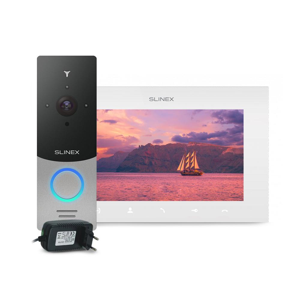 Kit videointerfon Slinex ML-20HD-SB-SQ-07MTHD-W-PA12/2A, 1 familie, aparent, 7 inch, touchscreen, IR 1.5 m, Full HD imagine spy-shop.ro 2021