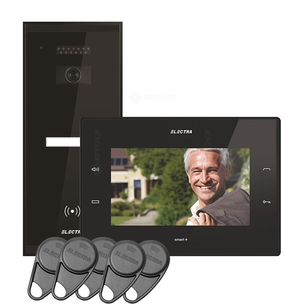 Kit videointerfon Electra Touch Line Smart+ VKM.P1SR.T7S4.ELB04, 1 familie, aparent, ecran 7 inch
