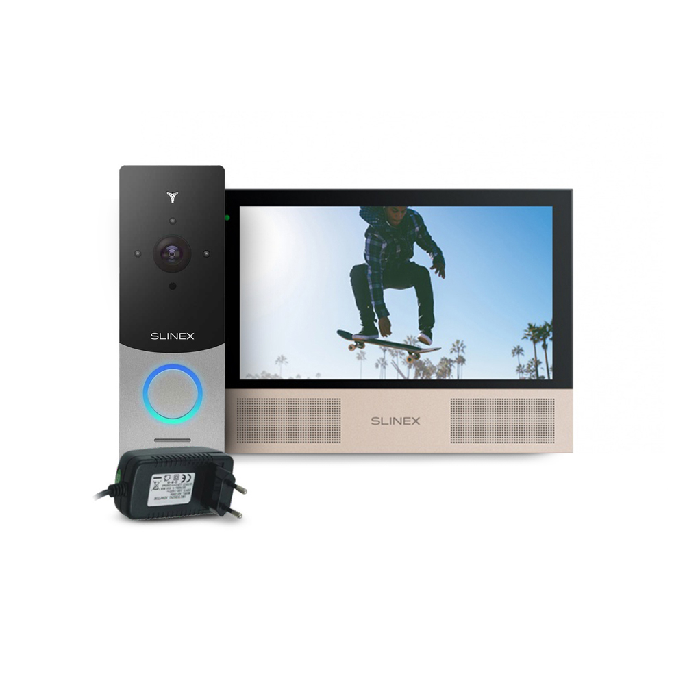 Kit videointerfon WiFi Slinex ML-20IP-SB-SONIK-7-B-PA12/2A, 1 familie, aparent, 7 inch, touchscreen, IR 1 m, HD imagine spy-shop.ro 2021