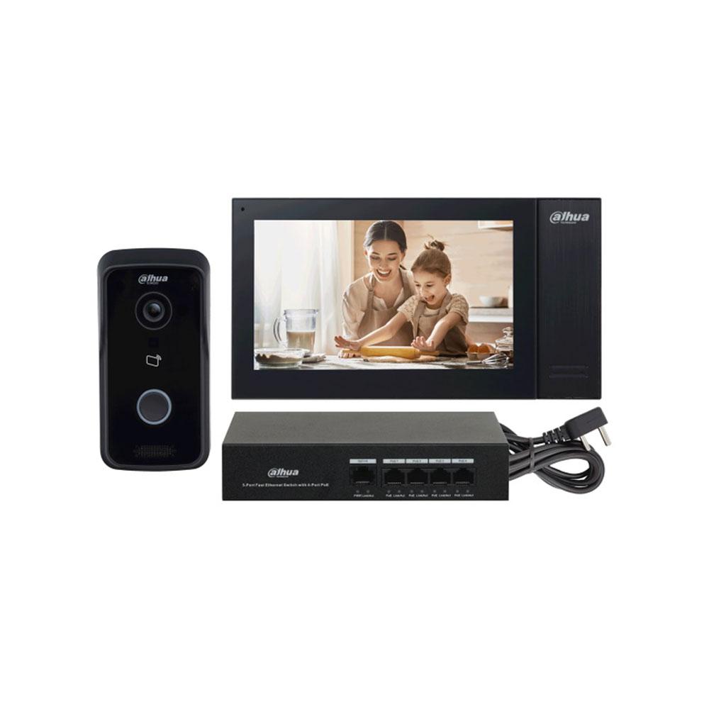 Kit videointerfon IP Dahua KTP02, 1 MP, 1 familie, aparent, 7 inch, IC card, control de la distanta, PoE