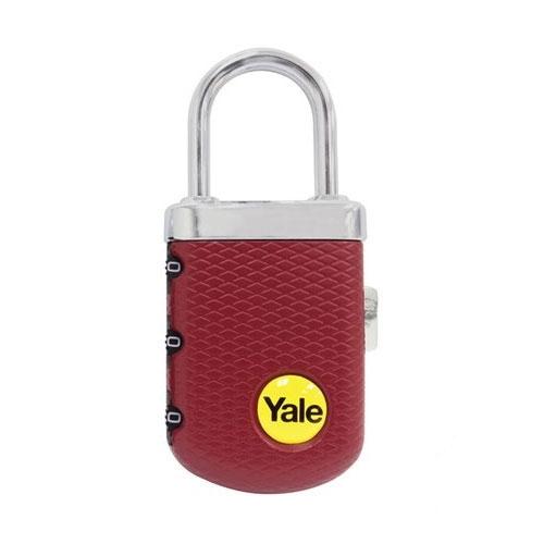 Lacat cu invelis striat din zinc rosu burgund cu cifru Yale YP3/31/123/1B imagine spy-shop.ro 2021