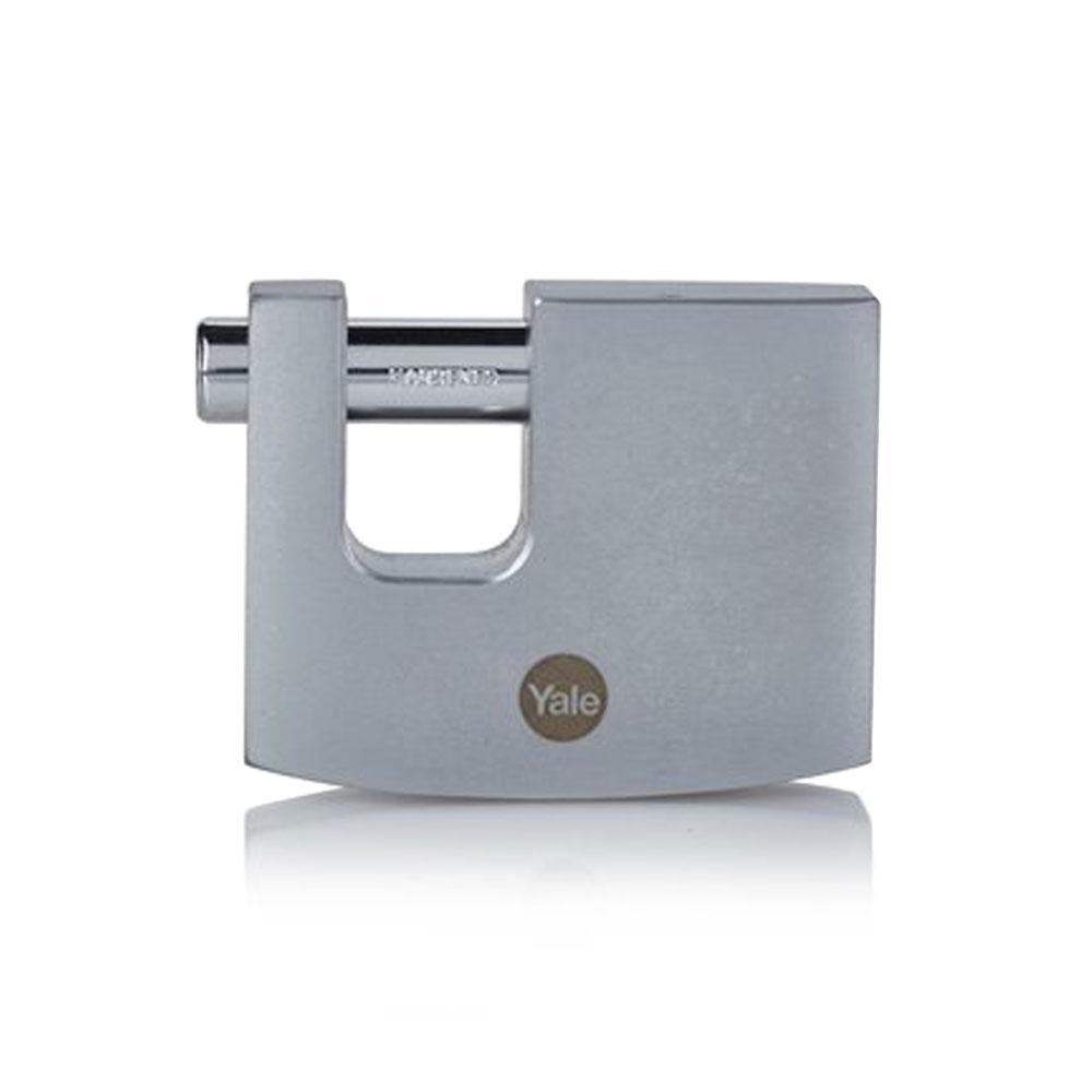 Lacat rectangular cu finisaj cromat Yale Y124B/70/115/1, 70 mm, cheie, extrior