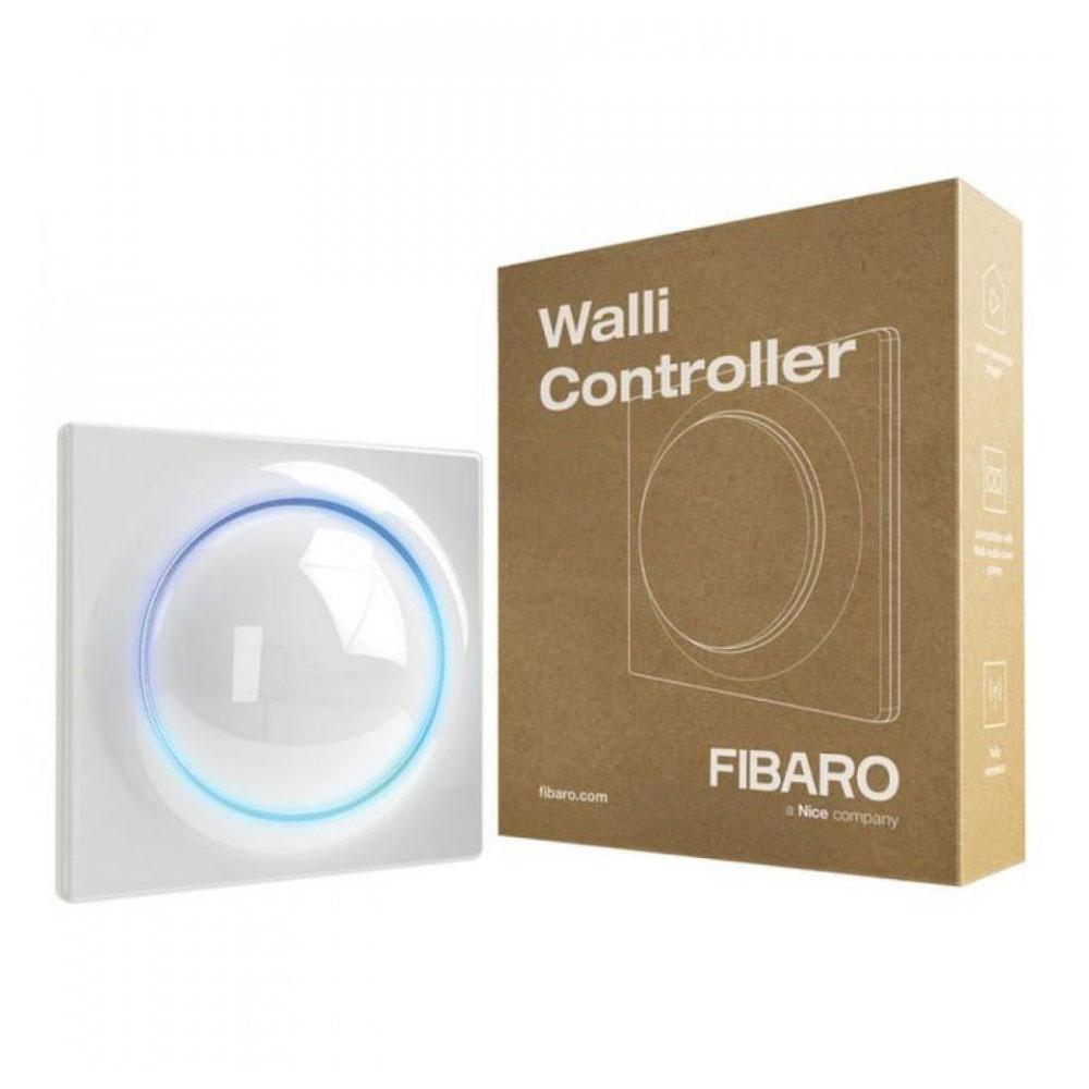 Modul de control smart multifunctional Fibaro Walli Controller FGWCEU-201-1, 2 butoane, Z-Wave Plus, 868/869 MHz, RF 50 m, contor putere/consum, alb