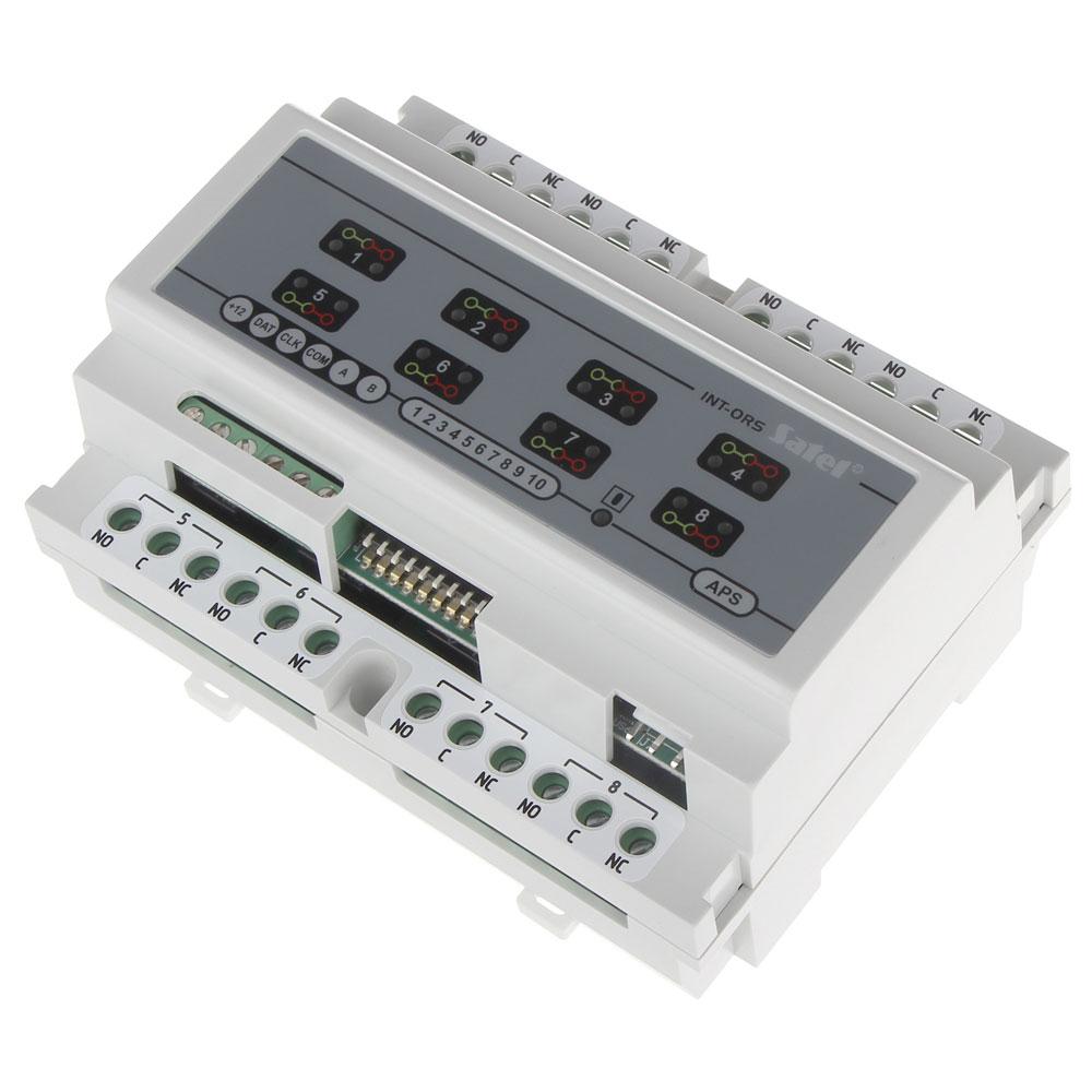 Modul de extensie cu 8 iesiri Satel INT-ORS, 16A/230VAC, 12VDC, sina DIN