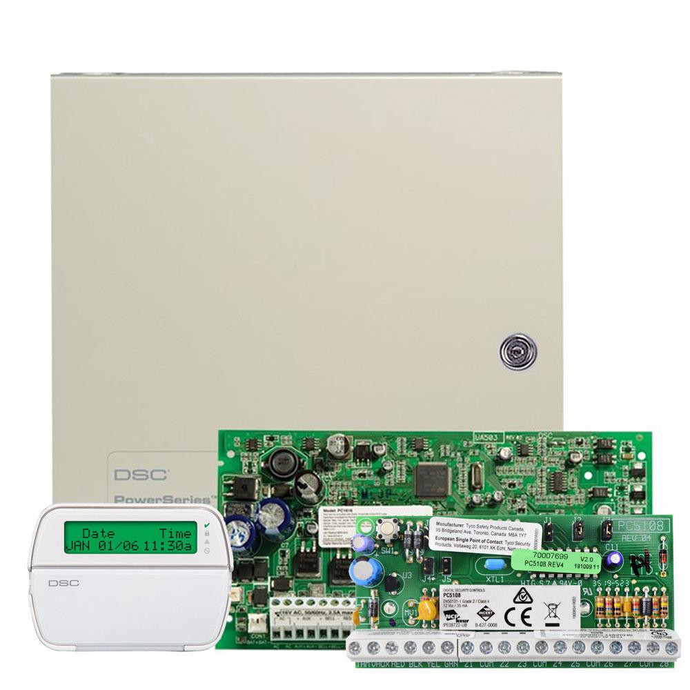 Kit alarma antiefractie DSC PC 1616-E LCD, 2 partitii, 6-16 zone, 48 utilizatori imagine