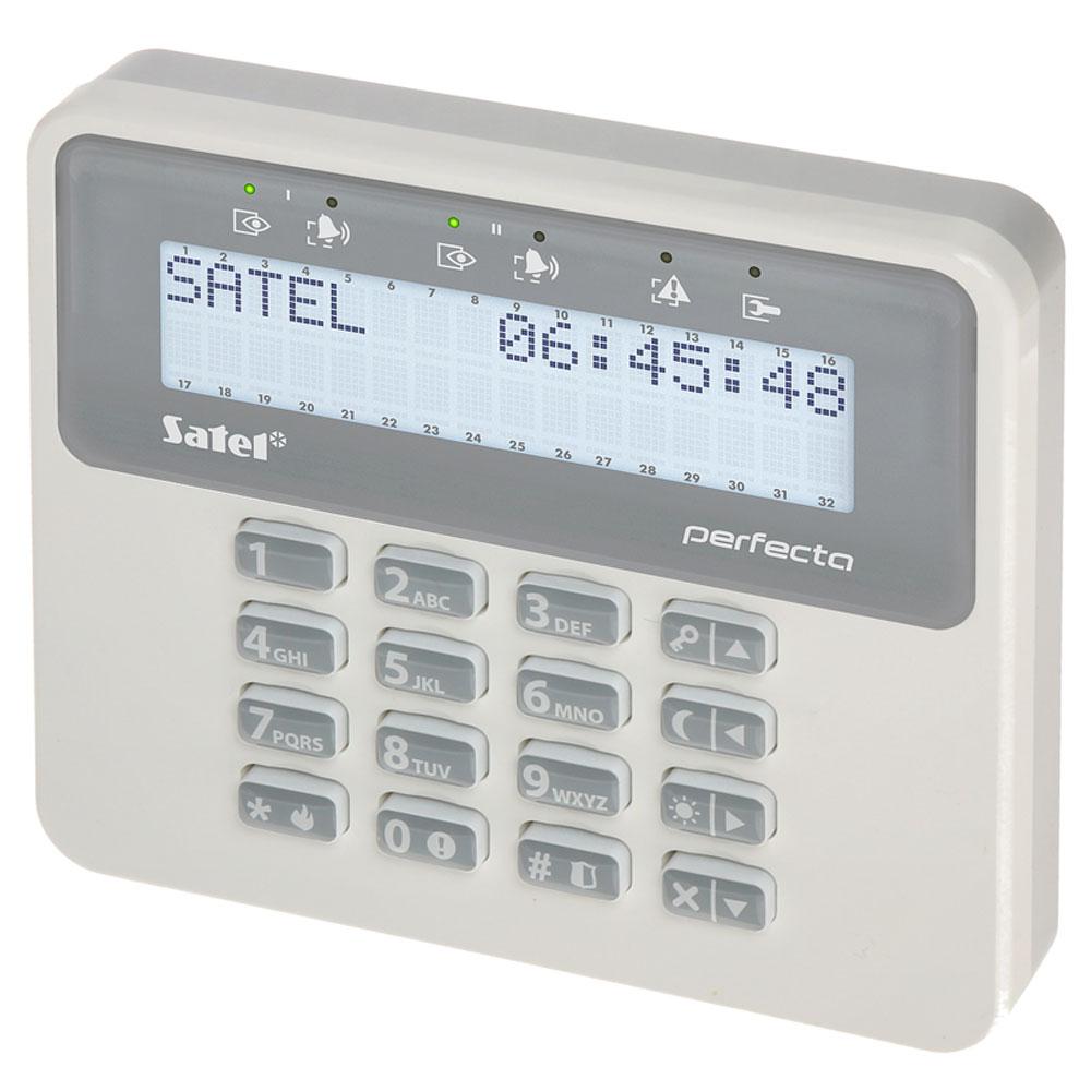 Tastatura LCD wireless Satel PRF-LCDM-WRL, RF 200 m, 3 butoane functionale, taste dedicate, buzzer