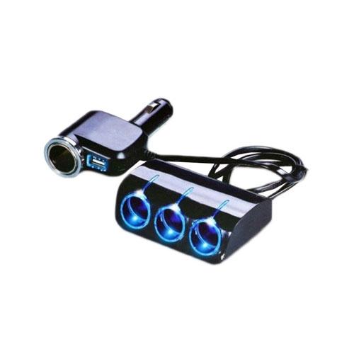Priza auto x4, 12/24V, cu sursa alimentare, 5V/1A, USB mama, 120W imagine spy-shop.ro 2021