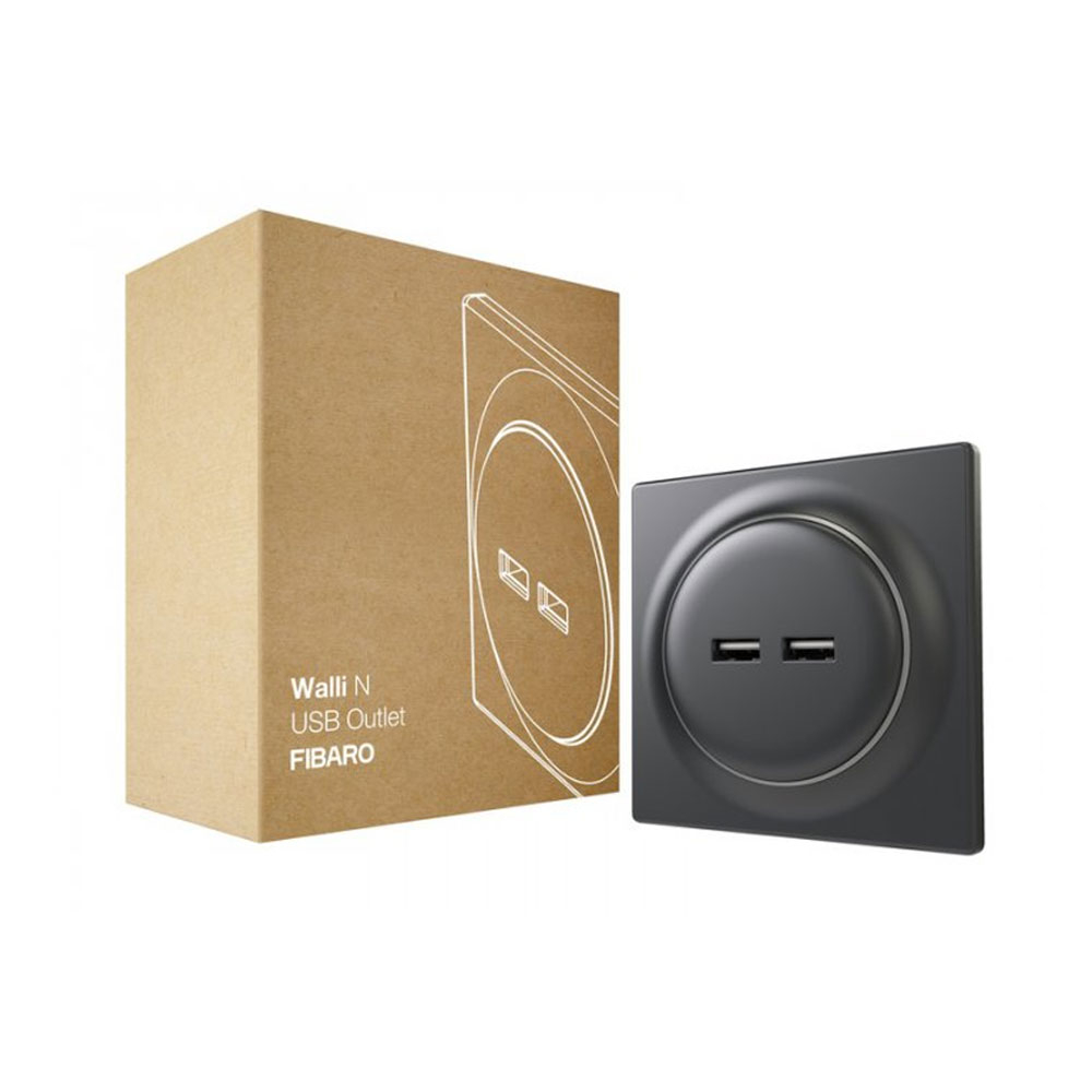 Priza dubla Fibaro Walli N USB Outlet FGWU-021-8, 2 iesiri, 5VDC, 2400 mA, gri